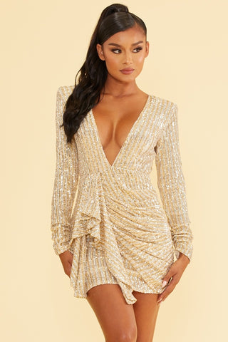 Elegant Gold Silver Sequence Deep V-Neck Ruffle Tie-Up Open Back Dress with Long Sleeve