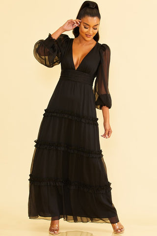 Elegant Black V-Neck Ruffle Maxi Dress with Bell Sleeve
