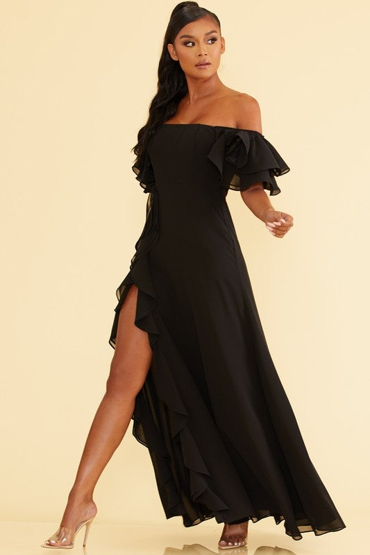 Elegant Off Shoulder Ruffle Black Maxi Dress with Middle Slit