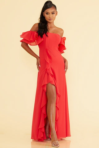 Elegant Off Shoulder Ruffle Red Maxi Dress with Middle Slit