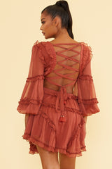 Elegant Rose V-Neck Ruffle Cut-Out Back Tie-Up Dress with Long Sleeve