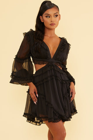 Elegant Black V-Neck Ruffle Cut-Out Back Tie-Up Dress with Long Sleeve