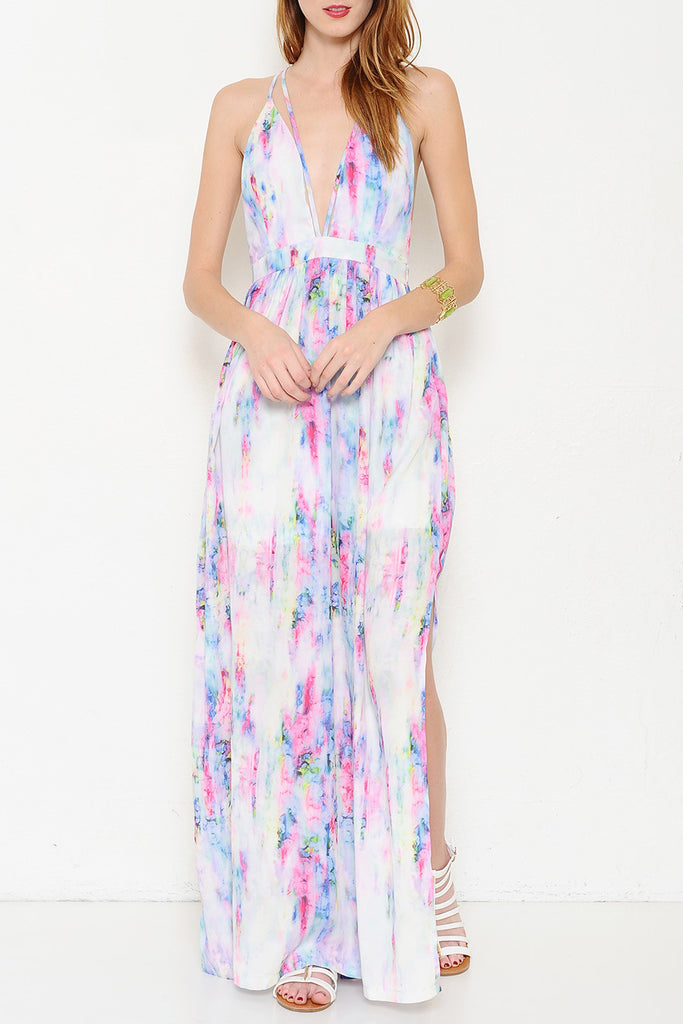 Elegant Watercolor Summer Maxi Dress