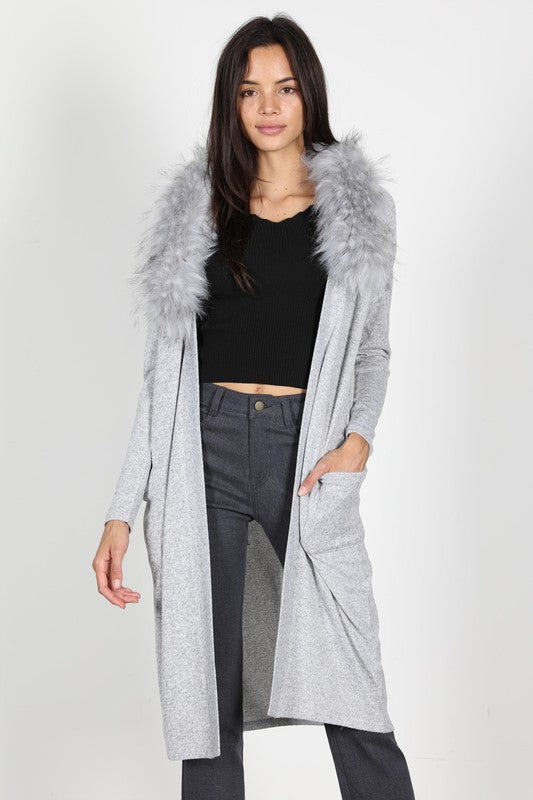 Elegant Light Grey Faux Fur Cardigan