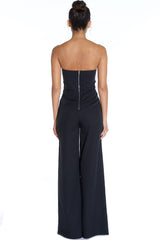 Elegant Strapless Cut Out Black Jumpsuit