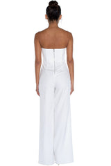 Elegant Strapless Cut Out White Jumpsuit