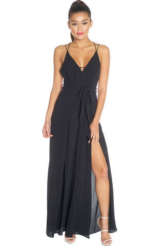 Fashion Strap Cut Out Black Jumpsuit