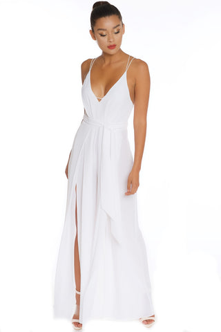 Fashion Strap Cut Out White Jumpsuit
