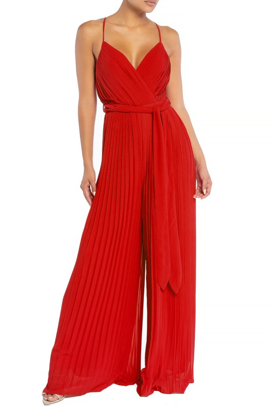 Elegant Strap Pleated Palazzo Tie-Up Red Jumpsuit