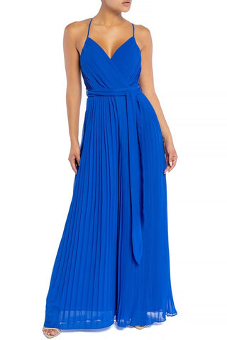 Elegant Strap Pleated Palazzo Tie-Up Royal Blue Jumpsuit