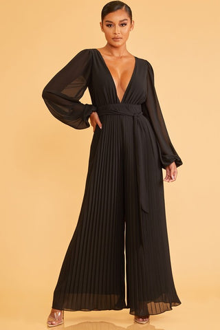 Elegant Black Deep V-Neck Pleated Palazzo Tie-Up Jumpsuit with Long Sleeve