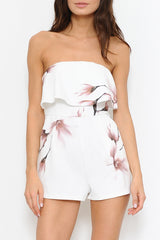Fashion Ruffle Strapless White Flowers Romper