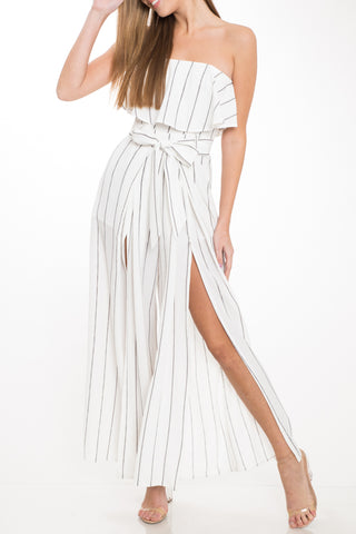 88c3bb47a0cf Fashion Strapless Ruffle White Contrast Cut Out Jumpsuit