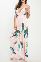 Elegant Strap Multi-Color Floral Print Back Tie-Up Jumpsuit