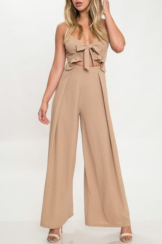 Elegant Beige Cut Out Tie-Up Jumpsuit