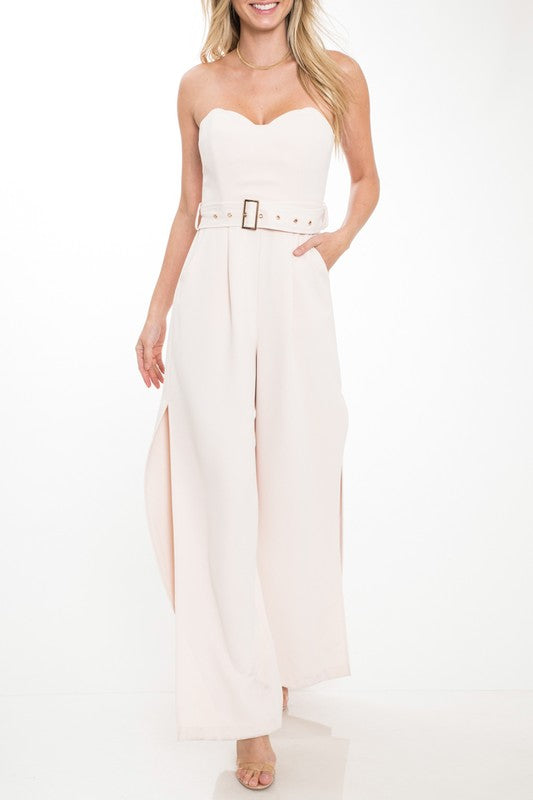 Elegant Strapless Corset Cut Out Beige Jumpsuit with Belt