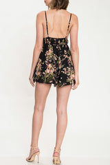 Fashion Strap Black Floral Print Romper