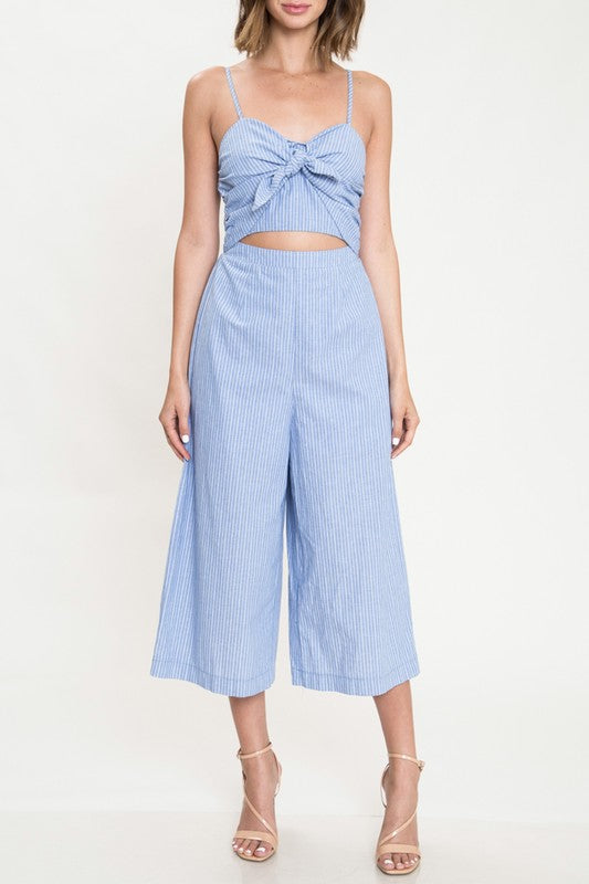 Fashion Summer Strap Blue Marine Front Tie-Up Jumpsuit