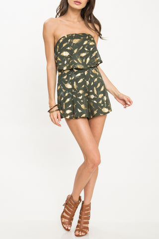 Fashion Ruffle Strapless Olive Gold Feather Romper