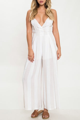 Elegant Beige Striped White Back Tie-Up Jumpsuit