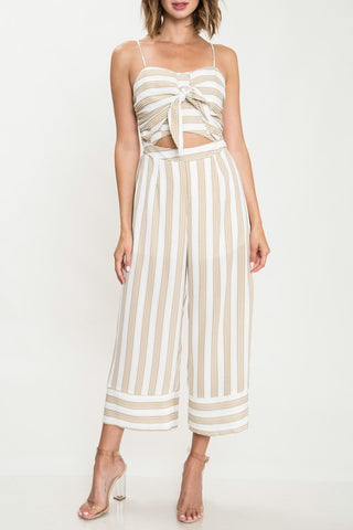 Fashion Summer Strap Beige Marine Front Tie-Up Jumpsuit
