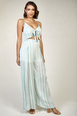 Fashion Green Marine Cut Out Tie-Up Jumpsuit