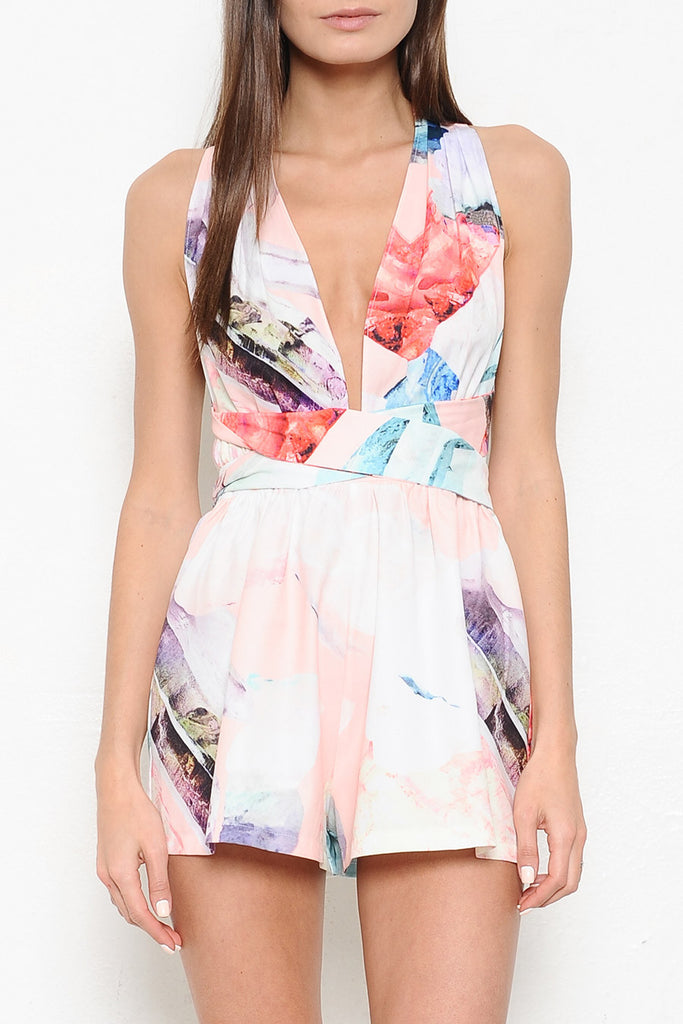 Elegant Multi-Color Print Tie-Up Romper