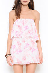 Tropical Print Ruffle Strapless Pink Romper