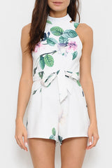 Elegant Summer Floral Backless Romper