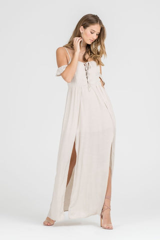 Fashion Off Shoulder Beige Maxi Romper