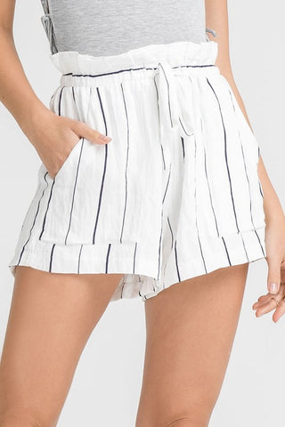 Elegant High Waisted Ruffle Contrast Shorts