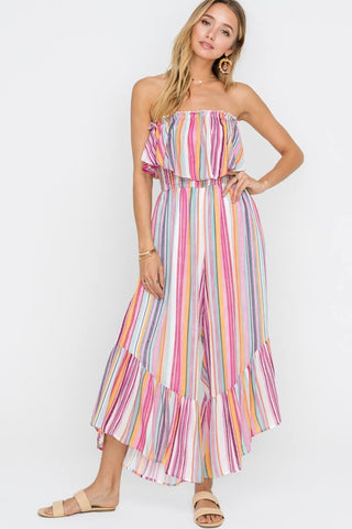 Fashion Pink Multi-Color Stripe Strapless Ruffle Jumpsuit