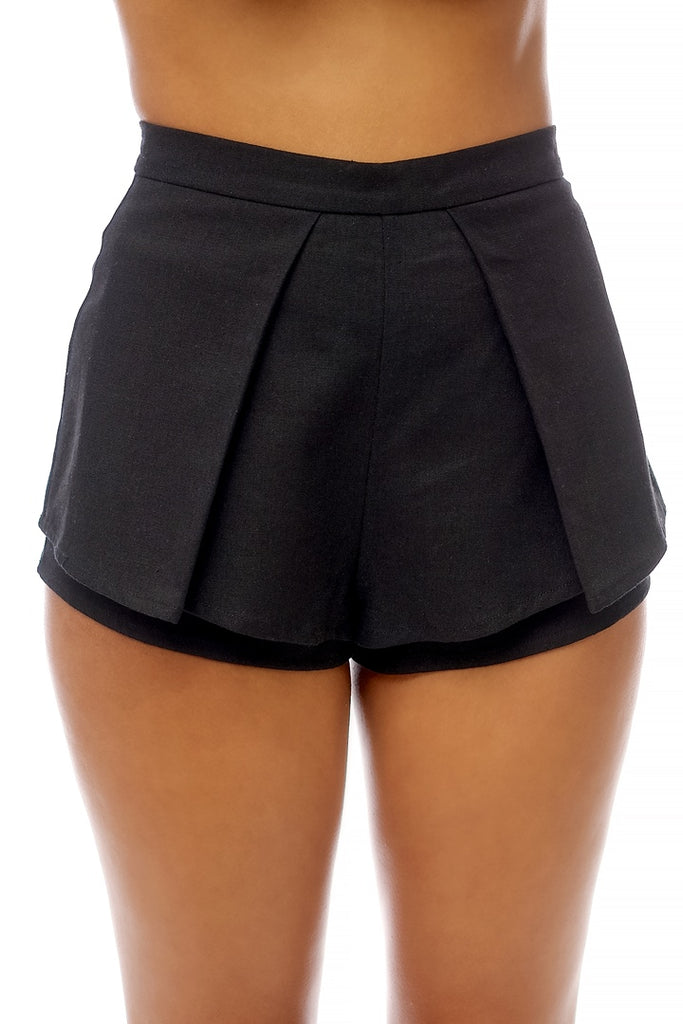 Elegant Black Cut Out Shorts