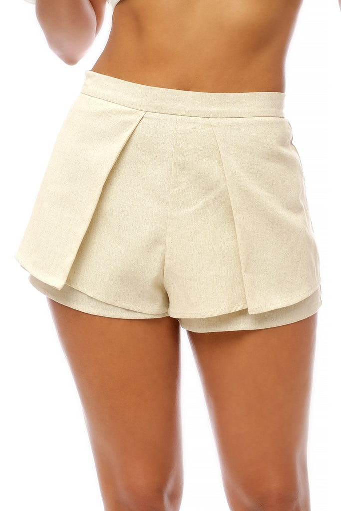 Elegant Beige Cut Out Shorts