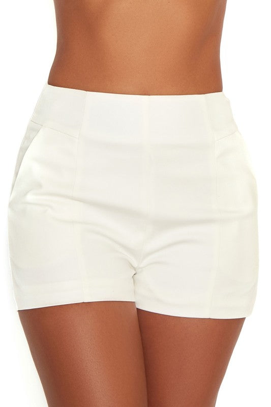 Fashion White High Waisted Shorts