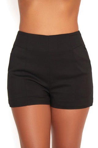 Fashion Black High Waisted Shorts
