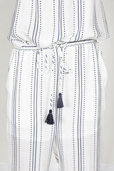 Fashion Summer Contrast Striped White Pants