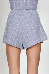 Fashion High Waisted Blue Checkered Shorts
