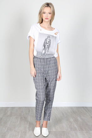 Fashion Silver String Grey Checkered Pants