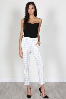 Fashion Silver String White Checkered Pants