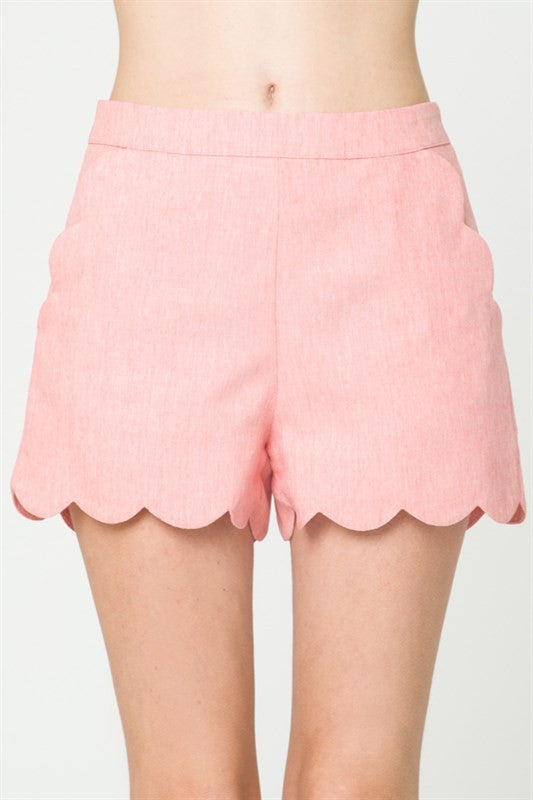 Tailor High Waisted Scallop Coral Short