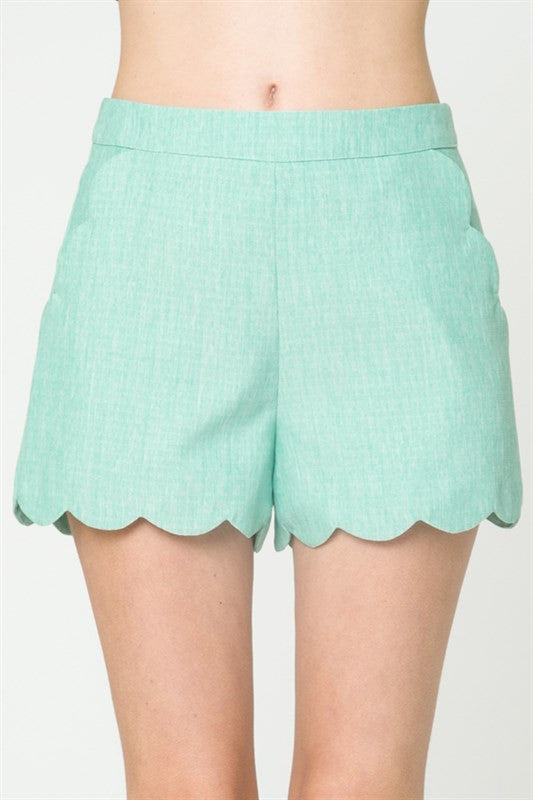 Tailor High Waisted Scallop Mint Short