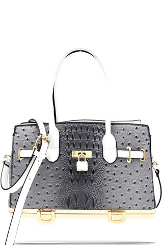 Elegant Grey Ostrich Print Padlock Satchel with Bottom Compartment