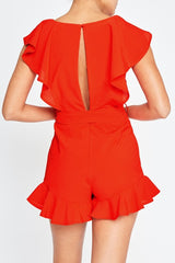 Fashion Summer Crossed Ruffle Red Romper
