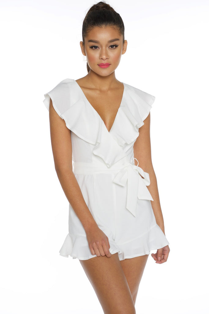 Summer Crossed Ruffle White Romper