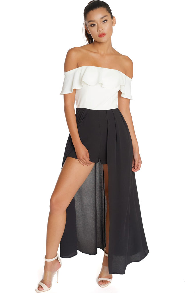 204787e8f4c93 Elegant Off Shoulder White Black Maxi Romper – EDITE MODE