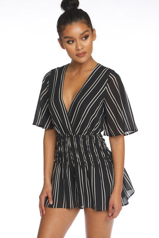 Fashion Stripped Contrast Black Romper