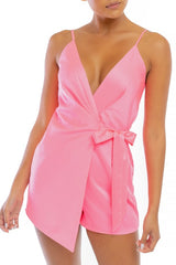 Fashion Strap Neon Pink Satin Wrap Tie-Up Romper