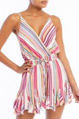 Fashion Strap Ruffle Pink Multi-Color Marine Romper