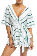 Fashion Resort Green Marine Ruffle Tie-Up Romper